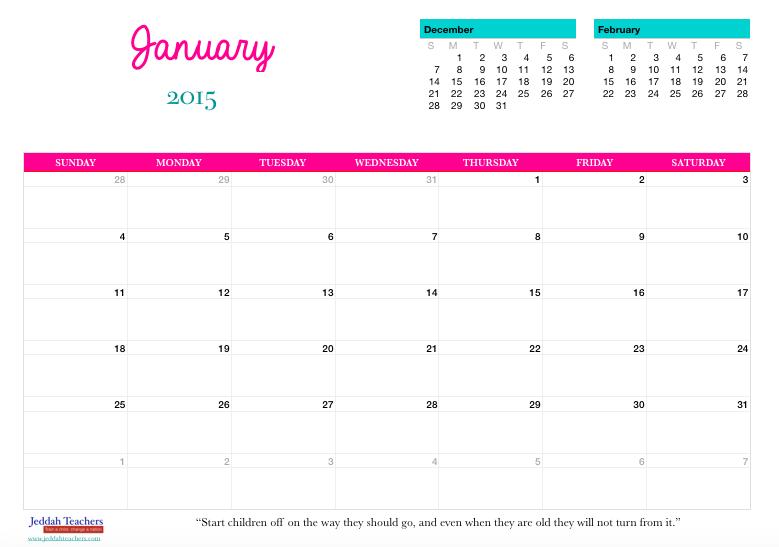 FREE Downloadable 2015 Calendar/ Planner! – Jeddah Teachers