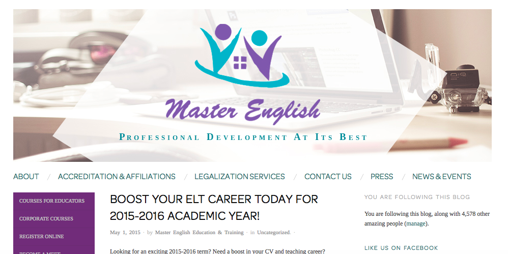 BOOST YOUR ELT CAREER TODAY FOR 2015-2016 ACADEMIC YEAR!